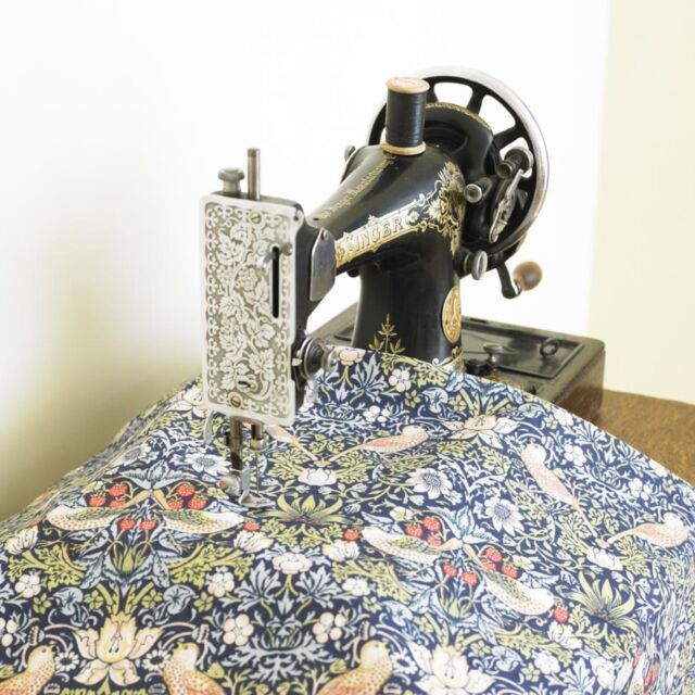 William Morris Blue Strawberry Thief  Cotton Floral Fabric By The Half Metre