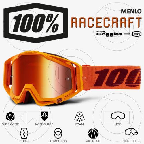 MASCHERA 100/% RACECRAFT MX OCCHIALI MOTOCROSS MENLO LENTE SPECCHIO ROSSA
