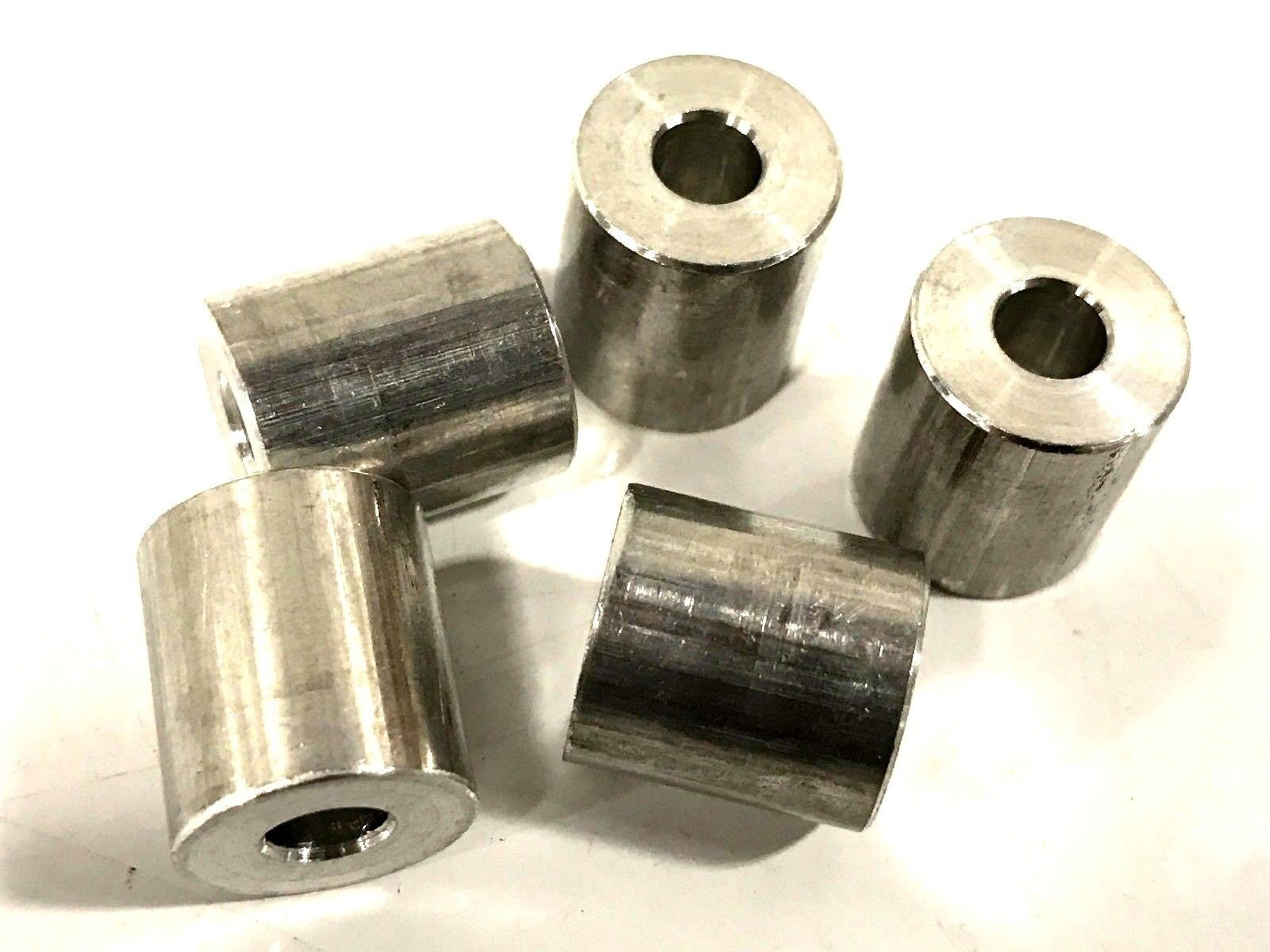 Pack of 5 1//2 OD 3//8 Length Made in US Aluminum Plain Finish 1//4 Screw Size Round Spacer 0.252 ID