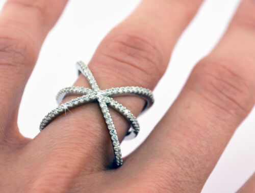 Crossover Fashion Ring CHRISTINA Pave Signity CZ Rhodium over Sterling Silver