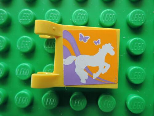 Lego 1 x Flagge Fahne 2335pb099 gelb  2x2 Sticker Pony Pferd 3189