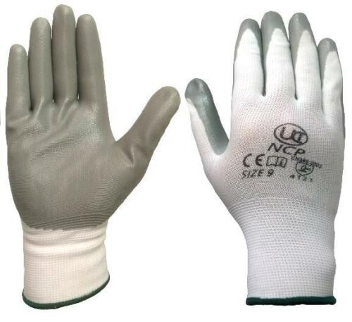 White Grey 2 Pairs UCI NCP Nitrile Palm Coated Lightweight Work Gloves