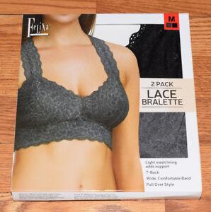 e7750c88bf NEW Womens FELINA LINGERIE Lot of 2 Gray Black Lace Bralette Bra M ...