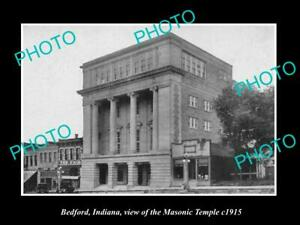 OLD-POSTCARD-SIZE-PHOTO-OF-BEDFORD-INDIANA-VIEW-OF-THE-MASONIC-HALL-c1915