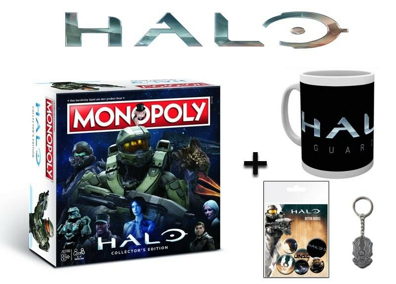 Monopoly Halo Board Game Game + Zusatzartikel Cup Key Ring Buttons