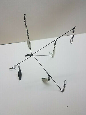 KC School/'em 10-HDB-5CL Striper//Bass Umbrella Rig  5 Arm 8 Blade SUPER BROWN