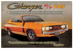 CHRYSLER-VALIANT-CHARGER-R-T-E49-TIN-SIGN-20x-30cm-True-Aussie-Muscle-Car
