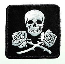 Skull + Roses - Totenkopf mit Rosen - Aufnäher / Patch - Neu #7236