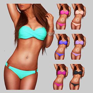 Push-Up-Sexy-Twist-Bandeau-Bikini-Gr-34-XS-36-S-38-M-40-L-42-XL