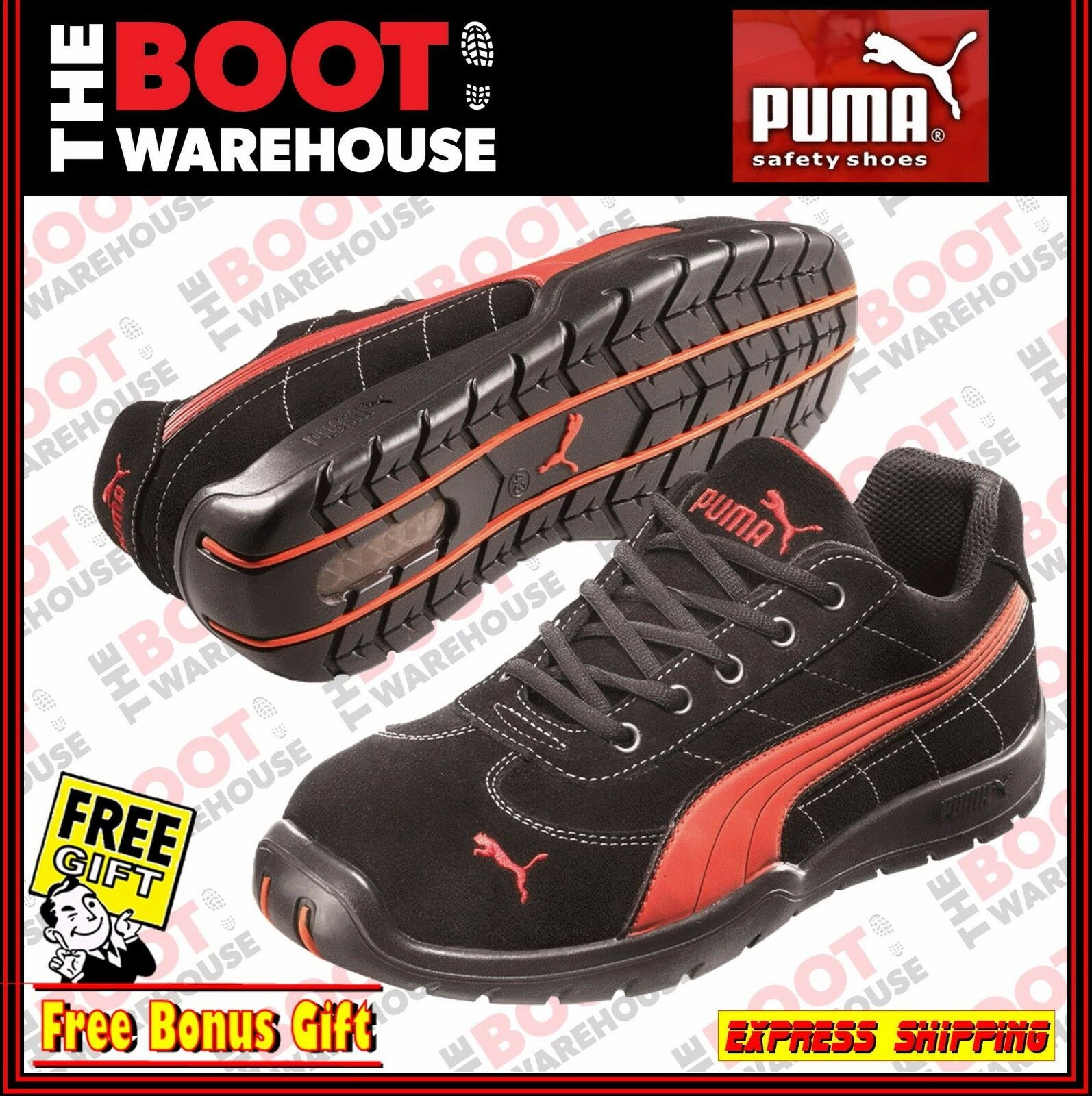 Puma Composite Toe Cap Safety Work Jogger   shoes 'Silverstone 642637  . Blk Red