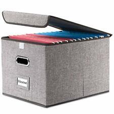 File Organizer Box Set Of 1 Collapsible Decorative Linen Filing Storage Hanging
