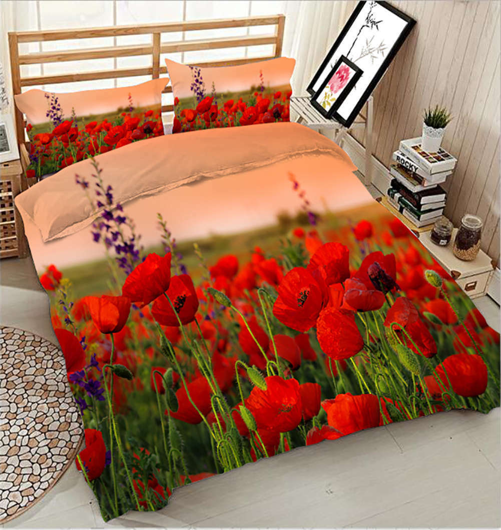 Comely Azalea 3D Printing Duvet Quilt Doona Covers Pillow Case Bedding Sets