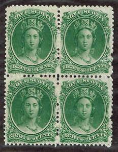 Nova-Scotia-11-Queen-Victoria-Block-of-4-1860-F-VF-Mint-No-Gum