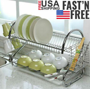 Large-Capacity-2Tier-Dish-Drainer-Drying-Rack-Kitchen-Storage-Stainless-Steel-US
