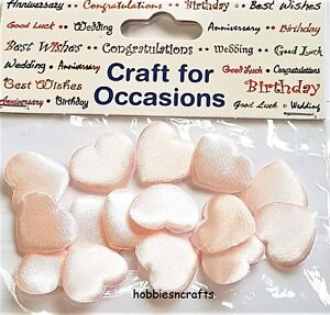 CRAFTS-FOR-OCCASIONS-PACK-OF-15-MEDIUM-2CM-PADDED-SATIN-FABRIC-BABY-PINK-HEARTS
