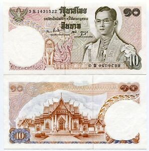 THAILAND 10 BAHT P 87 SIGN 55 UNC