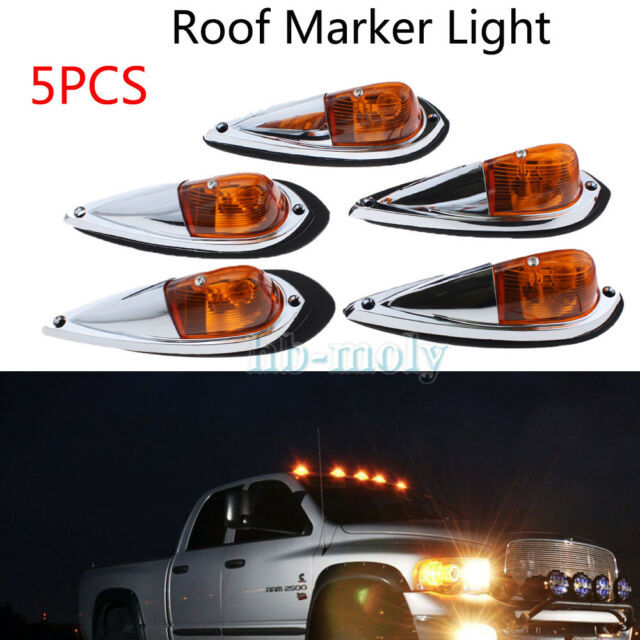 5pcs Smoked 12LED Cab Roof Top Truck SUV Side Marker Running Light Set WHITE
