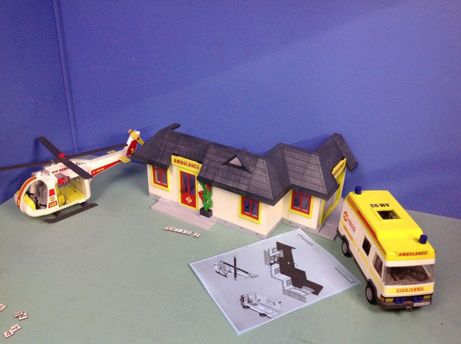 (O3130.2) playmobil petit hopital ref 3130 avec ambulance et hélicoptère   jusqu'à 65% de réduction