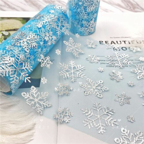 Organza Ribbon Christmas Snowflakes Pattern Design Tulle Decoration Gift Wrapper