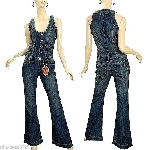 NEW Vanilla Star Womens Denim Jumpsuit 60's 70's Vintage Over all Jeans L Large