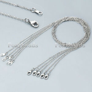 LOT-1-100X-Silvery-Copper-Alloy-Circle-Lobster-Clasp-Link-Chain-Necklace-18-L-fb