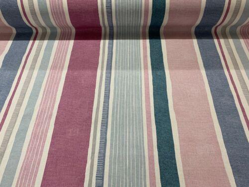 Marcel à rayures rose sorbet en coton Largeur 140 cm Rideau Tissu