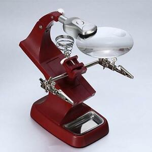 Helping-Hand-Soldering-Stand-With-LED-Light-Clip-Magnifier-Magnifying-Glass-SB