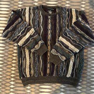Vintage-90s-80s-COOGI-Style-Pullover-3d-Strick-SZ-L-Biggie-Hip-Hop-Bill-Cosby