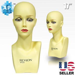"Realistic Plastic Female MANNEQUIN head lifesize display wig hat 17"" PH-17"