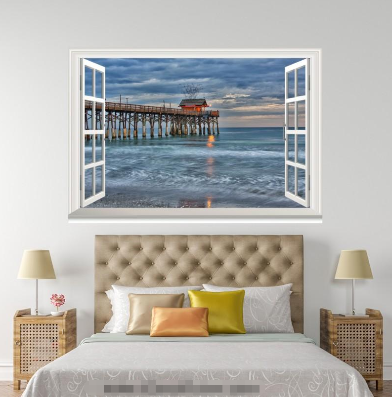 3D Bridge River Sky 211 Open Windows WallPaper Murals Wall Print AJ Carly