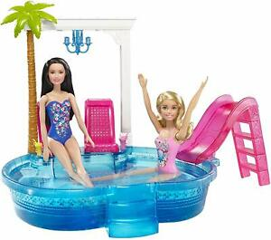 Poupee-Barbie-Glam-piscine-Playset-Summer-Party-chaises-amp-Slide-Filles-Cadeau