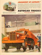 1947 vintage Truck AD AUTOCAR Heavy Hauler TRucks Gulf Oil Tanker Truck  091116