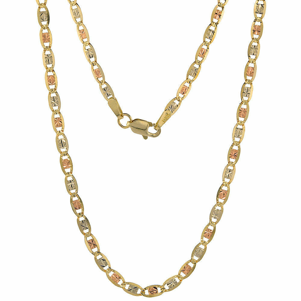 Authentic 10K Yellow White pink gold Tri-color Valentino Chain 2.8mm 16 -24