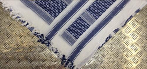 Wrap Arab Scarf Sarong Blue on White 100/% Cotton Shemagh Pashmina NEW