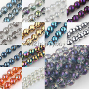 Wholesale-50-100PCS-SmoothCrystal-Spacer-Loose-Round-Beads-6mm-Jewelry-Making