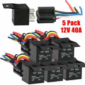 5pcs 12V 30//40Amp Relay Wire Harness Socket SPDT 5Pin Automotive Car Relays Kit