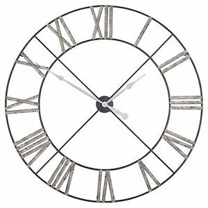Extra-Large-110cm-Distressed-Aged-Metal-Roman-Numeral-Wall-Clock-Limited-Qty