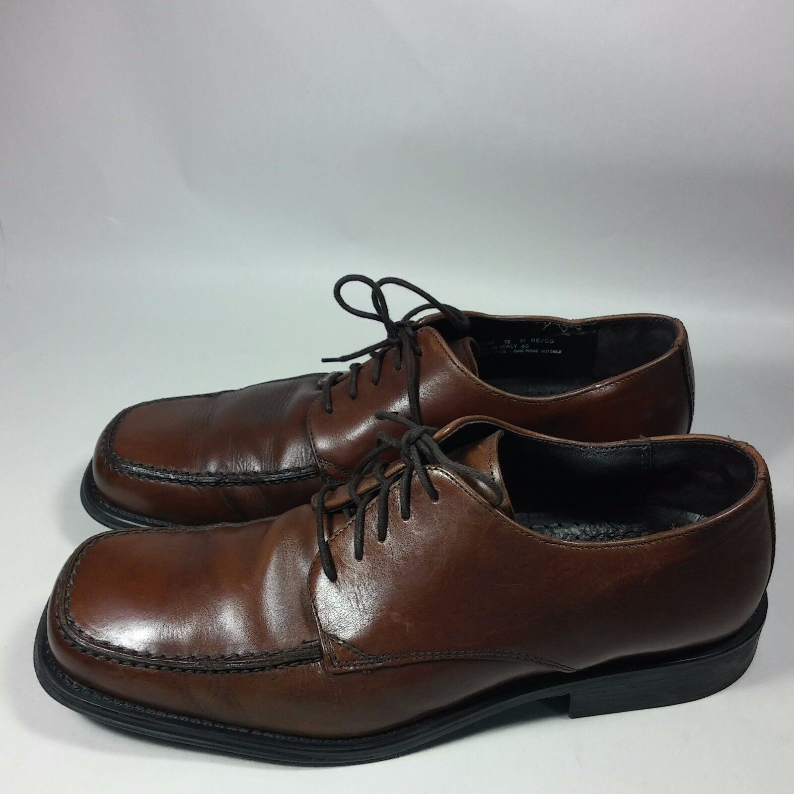 Men's Bostonian shoes Dress Casual Oxfords Brown Leather-MADE IN ITALY-12 M