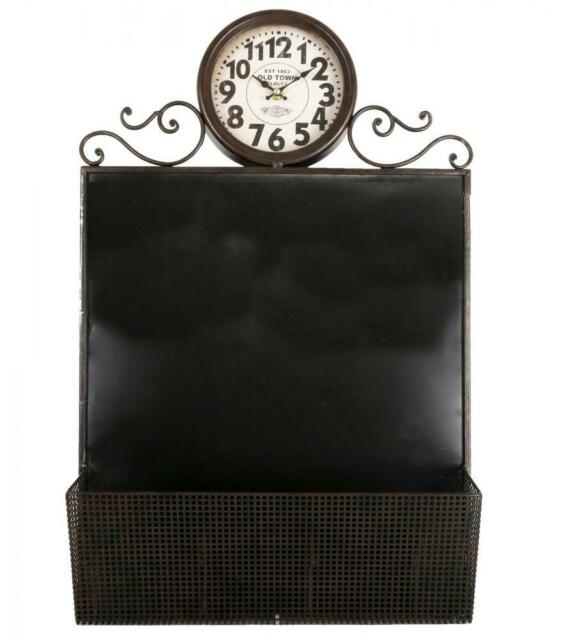 Metal 70x40cm Wall Hanging Clock & Memo Message Chalk Board with Letter Rack