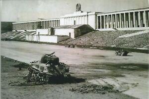 WW-II-Usa-Photo-Destroyed-Sherman-Tank-Nuremberg-Stadium