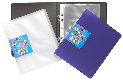 A5 Slim Ring binder Book + 10 Plastic Punched Pockets Clear Quality Small Folder