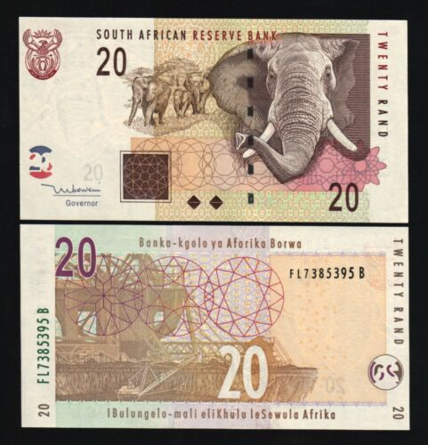 SOUTH AFRICA 20 RAND P129 a 2005 ELEPHANT ANIMAL MINING UNC MONEY BILL BANK NOTE