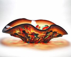"BOWLS - MURANO GLASS TORINO CENTERPIECE BOWL - 19""L - ITALIAN ART GLASS"