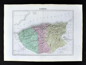 1877-Migeon-Map-Algeria-Oran-Constantine-Alger-Algiers-Barbary-North-Africa