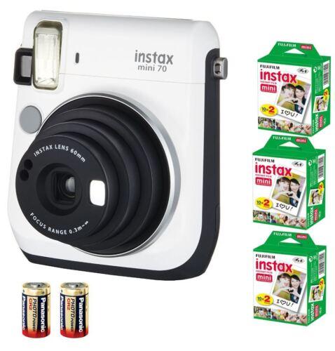 60 Film Bundle 2xCR2 BATTERIA Fuji Instax 70 Instant fotocamera Mini Bianco