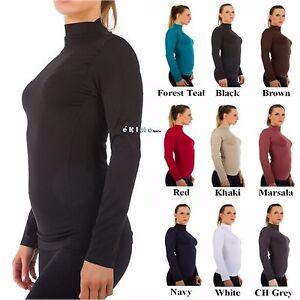 e5f69ddcccd13d Women Mock Neck Long Sleeve Shirt Turtleneck Top Stretch Slim Fit ...