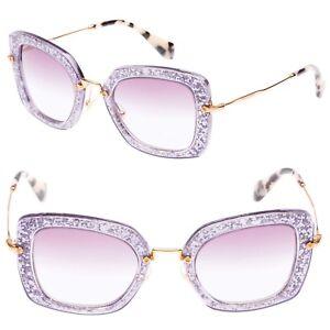b32c0aa0e4b5 MIU MIU SMU 07O Noir Square Acetate Sunglasses in Wisteria Purple ...