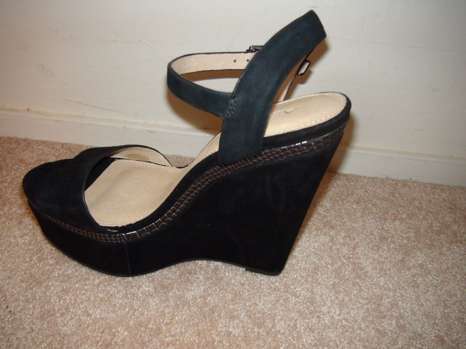 Aldo CYBIL Black Suede Platform Open Toe Sandal New Sz US 9 Women's