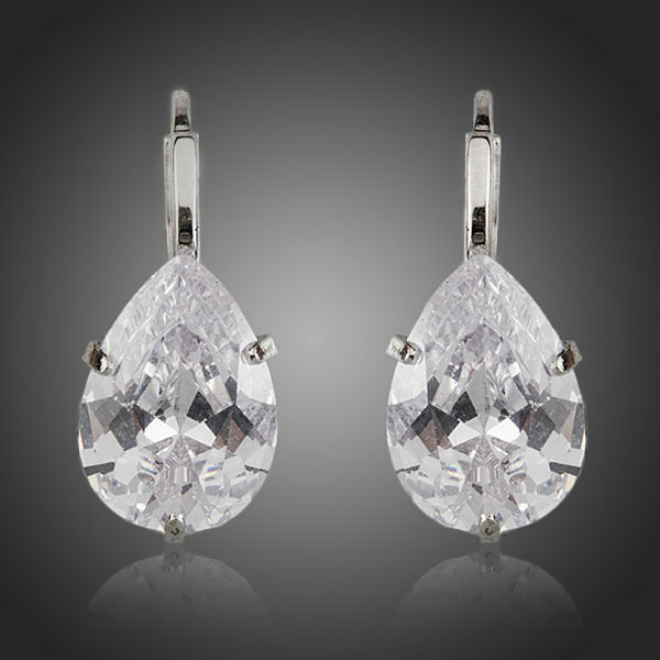 White Gold Plated Sparkly Clear Cubic Zircon Dainty Cute Pear Cut Earrings