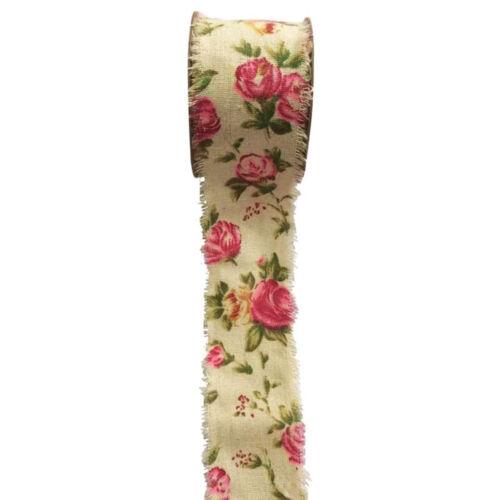 Vintage de color blanco desgastado Impreso cinta Rosas Motif 50mm X 9m